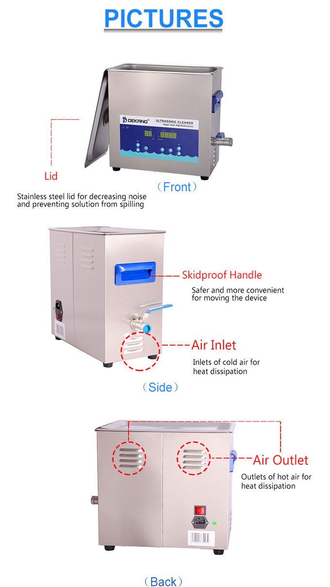 40KHz Digital Ultrasonic Cleaner , 10L Industrial Ultrasonic Cleaning Tanks